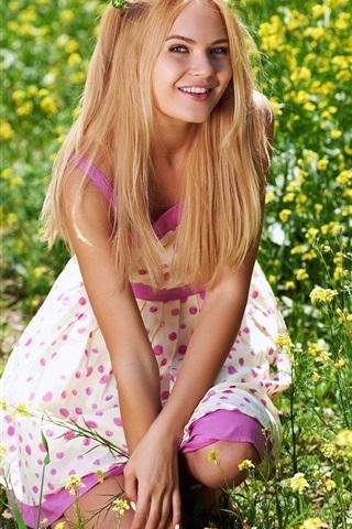 iPhone Wallpaper Blonde girl, little child, yellow flowers