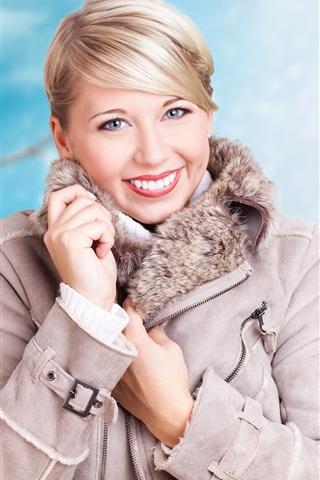 iPhone Wallpaper Blonde girl, smile, winter, coat