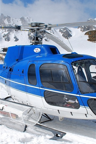 iPhone Wallpaper Blue helicopter, snow, winter