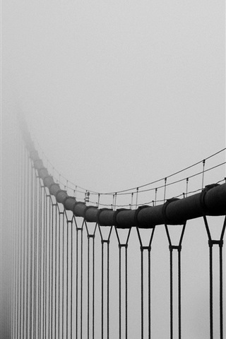 iPhone Wallpaper Bridge in the fog, mist
