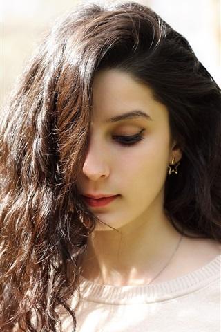 iPhone Wallpaper Brunette curls girl, lovely