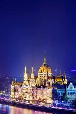 iPhone Wallpaper Budapest, Hungary, night city, river, bridge, buildings, lights