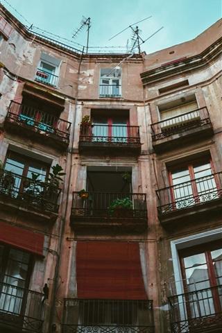 iPhone Wallpaper Building, balconies, houses