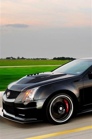iPhone Wallpaper Cadillac CTS V black car speed