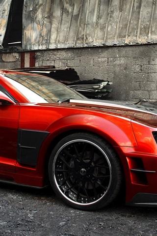 iPhone Wallpaper Chevrolet Camaro Guyver red sport car side view
