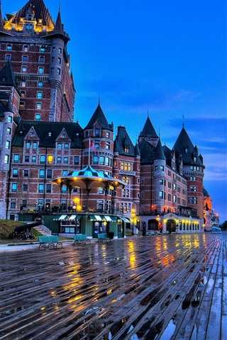 iPhone Wallpaper City, dusk, buildings, castle, lights, wet