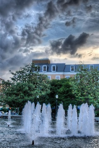iPhone Wallpaper City fountain, water, trees, dusk, clouds
