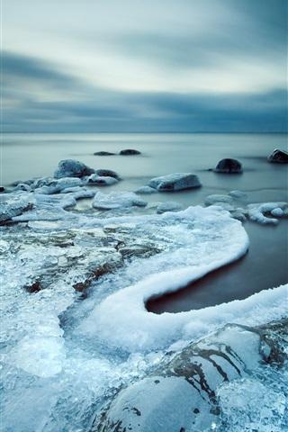 iPhone Wallpaper Cold coast, sea, ice, gloomy sky