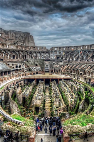 iPhone Wallpaper Colosseum, Rome, Italy, ruins, tourists, tour