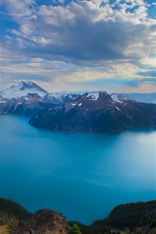 iPhone Wallpaper Columbia, Canada, nature, mountains, lake