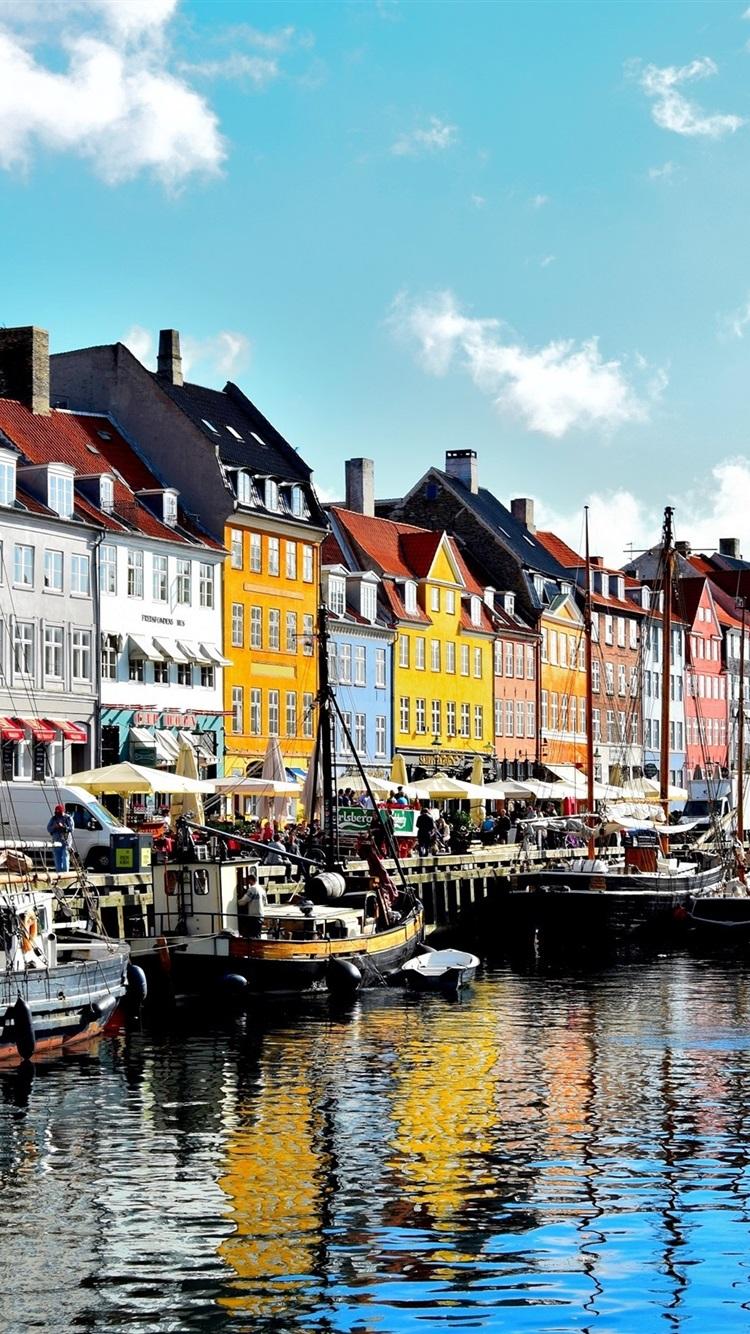 Copenhague dinamarca r o barcos casas 750x1334 iphone 8 7 6 6s fondos de pantalla - Copenhagen wallpaper ...