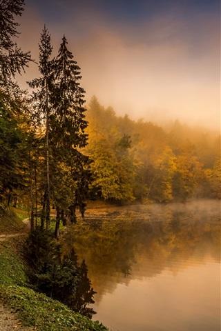 iPhone Wallpaper Croatia, autumn, trees, path, lake, fog