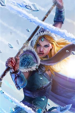 iPhone Papéis de Parede DOTA 2, Crystal maiden, menina, guerreira