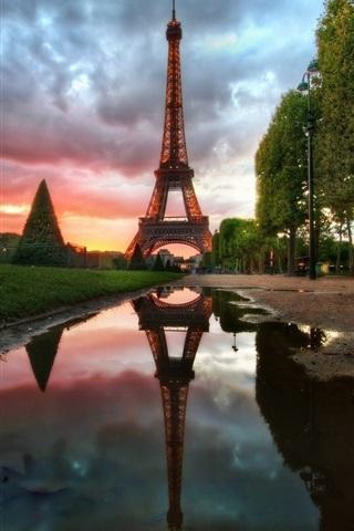 iPhone Wallpaper Eiffel Tower, Paris, France, water, trees, clouds, dusk