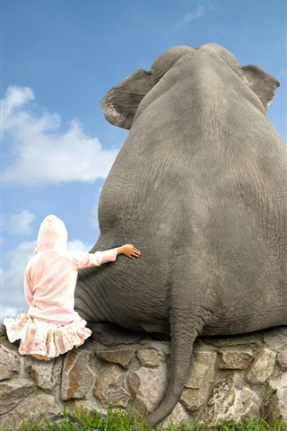 iPhone Wallpaper Elephant and girl, friends, back view