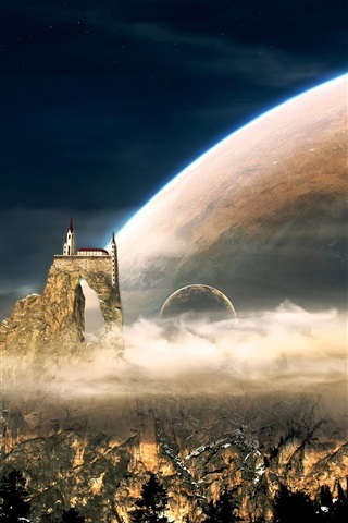iPhone Wallpaper Fantasy world, mountains, castle, houses, planets, clouds