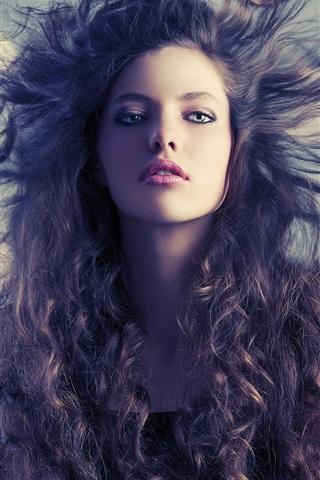 iPhone Wallpaper Fashion girl, hair flying, wind