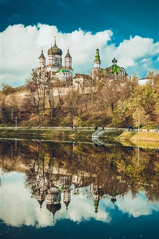 iPhone Wallpaper Feofania Park, Kiev, Ukraine, cathedral, lake, water reflection