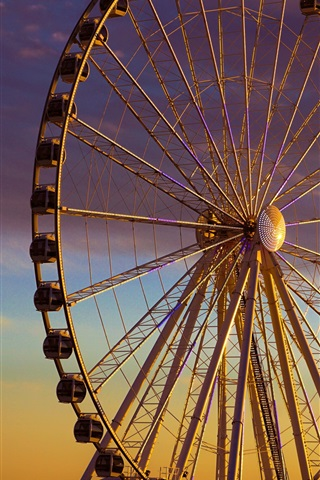 iPhone Wallpaper Ferris wheel, evening, dusk