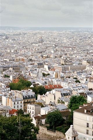 iPhone Wallpaper France, Paris, city views, roofs, houses