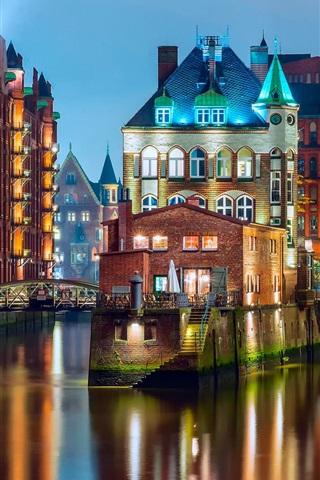 iPhone Papéis de Parede Alemanha, Hamburgo, luzes, ponte, casas, rio, noturna