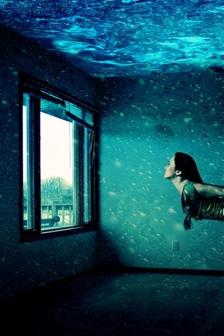iPhone Wallpaper Girl swimming in house, windows, water, creative picture
