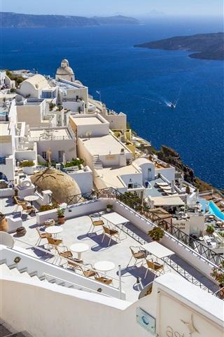 iPhone Wallpaper Greece, Santorini, sea, coast, houses, island