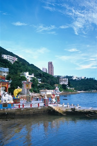iPhone Wallpaper Hong Kong, city view, coast, village, sky, clouds