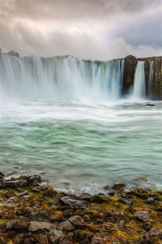 iPhone Wallpaper Iceland, beautiful waterfalls, stream, clouds