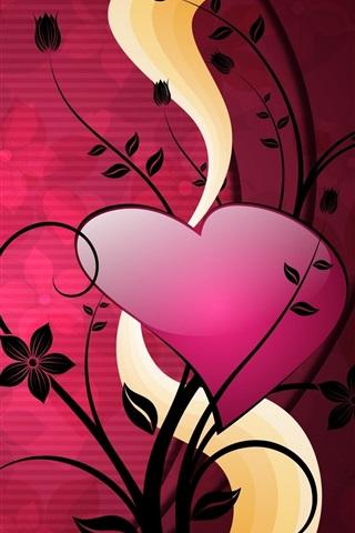 iPhone Wallpaper Love hearts plants, vector