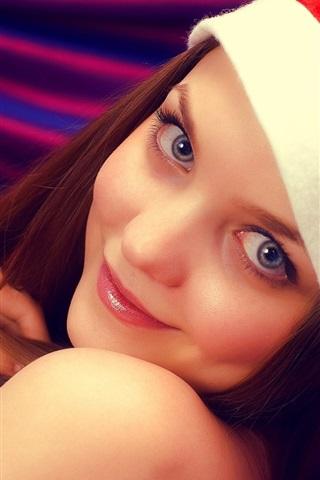 iPhone Wallpaper Lovely smile girl, hat