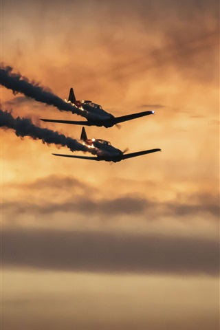 iPhone Wallpaper Military aircraft, flight, smoke, sunset