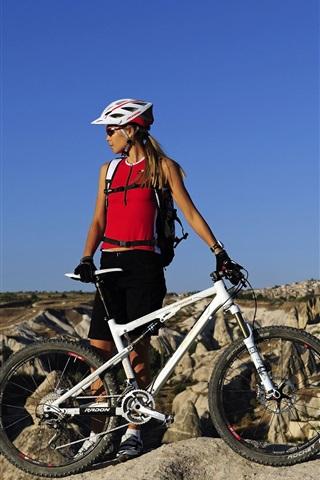 iPhone Wallpaper Mountain bike, cross country, blonde girl