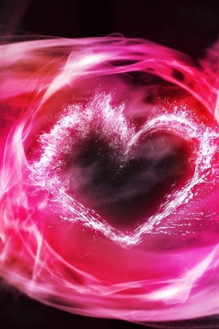 iPhone Wallpaper Pink smoke, love heart, abstract