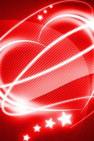 iPhone Wallpaper Red style love heart, light
