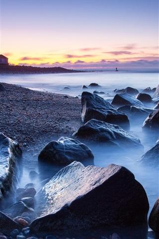iPhone Wallpaper Rocks, sea, coast, lighthouse, fog