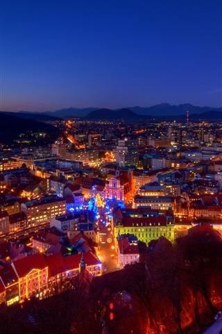 iPhone Wallpaper Slovenia, city, evening, lights, Christmas