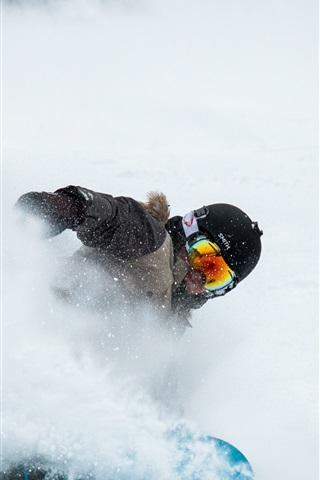 iPhone Wallpaper Snowboard, extreme sport, helmet, thick snow
