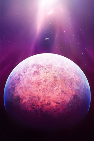 iPhone Wallpaper Space, planet, stars, purple light