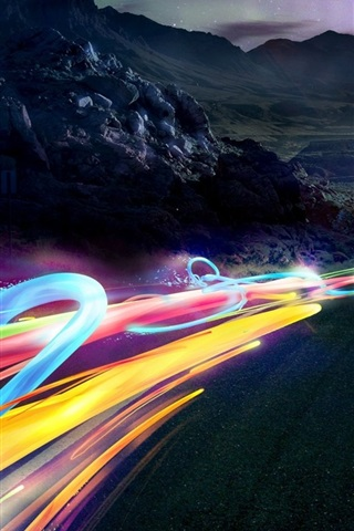 iPhone Wallpaper Speed, road, abstract ribbons lights
