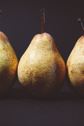 iPhone Wallpaper Three pears, black background