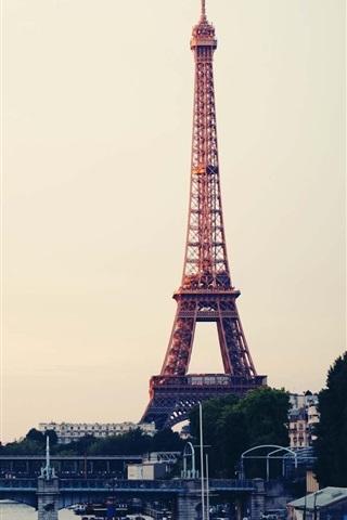 iPhone Wallpaper Travel to Paris, Eiffel Tower, France, city, bridge, river
