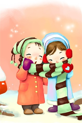 iPhone Wallpaper Two little girls in winter, coat, scarf, rabbits, art drawing
