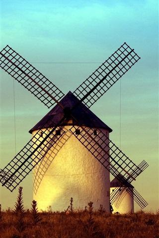 iPhone Wallpaper Windmills, buildings