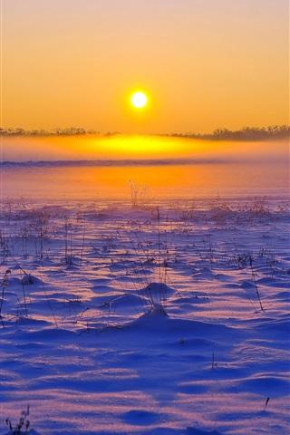 iPhone Wallpaper Winter, snow, grass, sunset