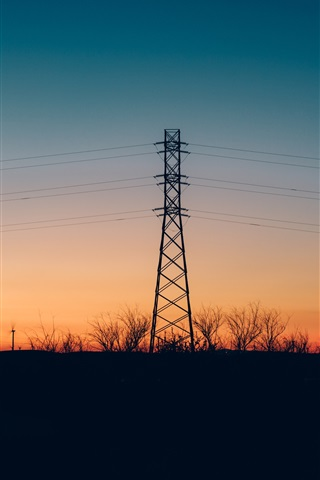 iPhone Wallpaper Wires, power lines, tower, evening, sunset