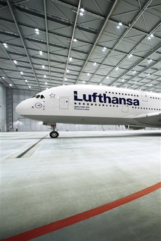 iPhone Wallpaper Airbus A380 passenger aircraft stopped at airport