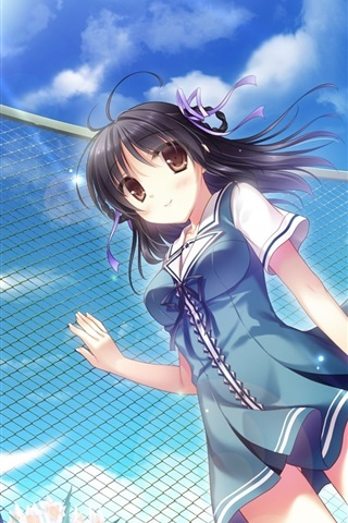 iPhone Wallpaper Anime, school girl, sky, windy, fence