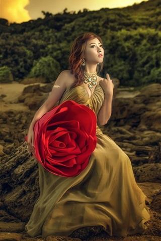 iPhone Wallpaper Asian girl and big rose
