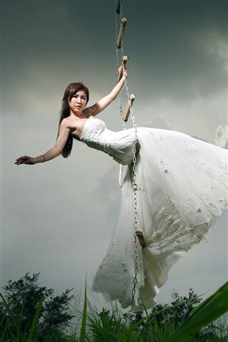 iPhone Wallpaper Asian girl, bride, ladder